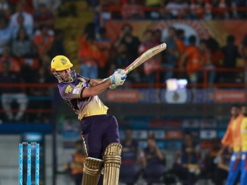 Chris Lynn trained with the KKR squad ahead of match 41
