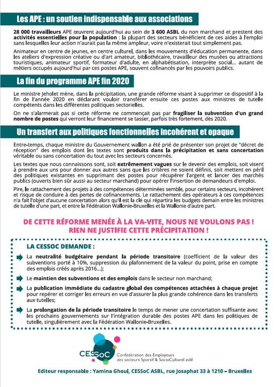 Manifestation pour une réforme cohérente APE, 18 mars 2019