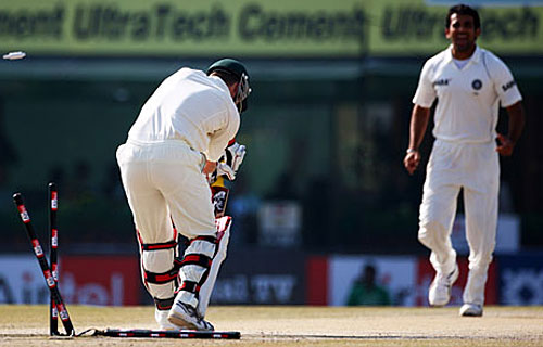 Brad Haddin is bowled by Zaheer Khan