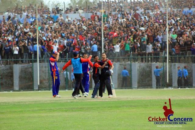 Sarad Vesawakar playing a match winner against Namibia in TU Cricket Ground, Kritipur