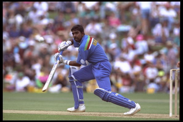 25 Feb 1992: Asanka Gurusinha batting for Sri Lanaka against NZL in the cricket world cup 1992. In Hamilton NZL