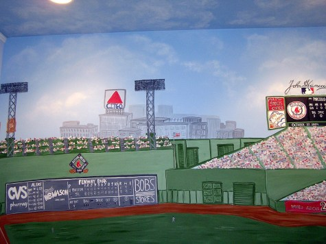 Fenway Park Mural on 8'x10' wall clouds extend on the ceiling