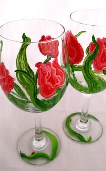 Red Tulip Wine Glasses