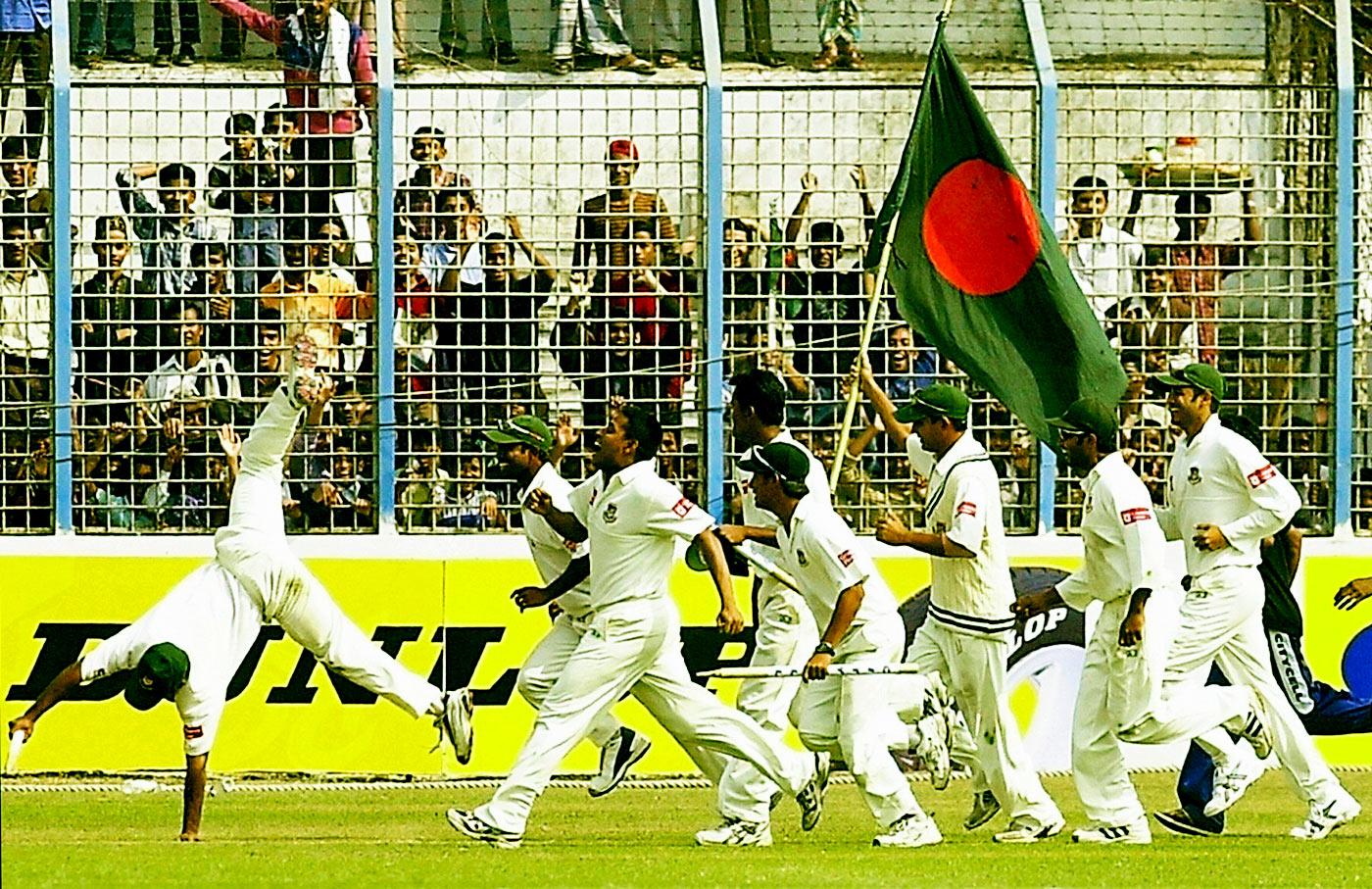 Bangladesh celebrate their first Test win