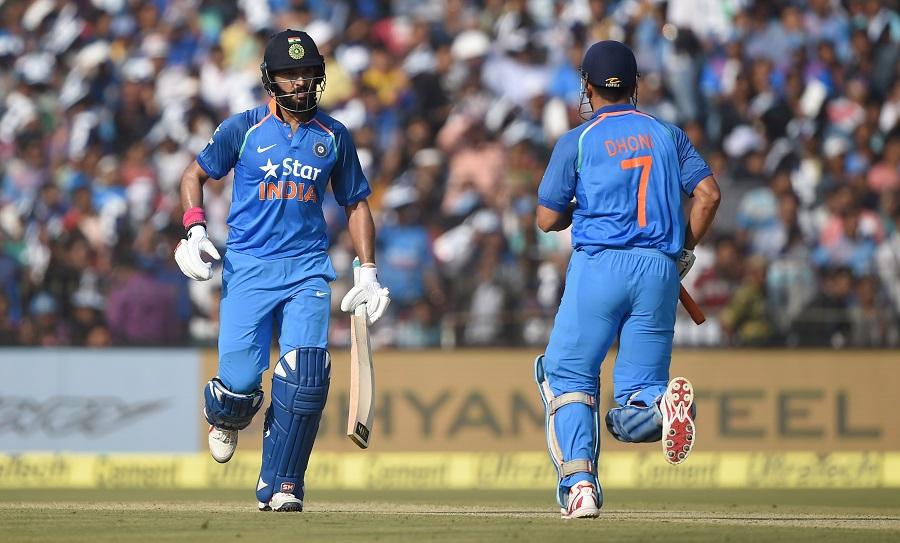 Yuvraj Singh amd MS Dhoni during India v England ODI