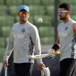 Dhoni and Kohli practicing