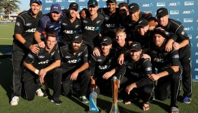 New Zealand celebrate after winning the Chappell Hadlee series