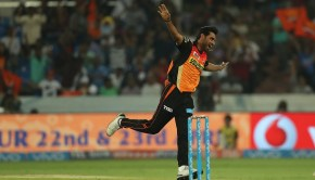 Bhuvneshwar Kumar of the Sunrisers Hyderabad during match 6 of the Vivo 2017 Indian Premier League