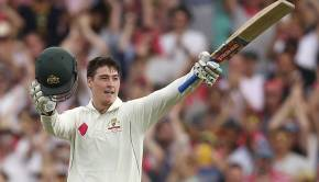 Australia's Matt Renshaw celebrates making 100 runs against Pakistan