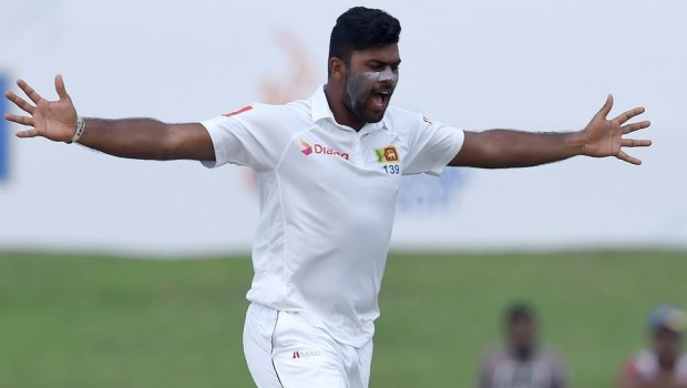Sri Lankan bowler Lahiru Kumara celebrates after dismissing Indian batsman Ajinkya Rahane