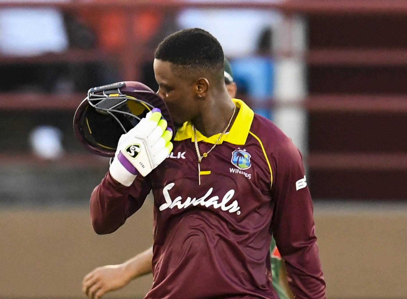Shimron Hetmyer of West Indies celebrates his century