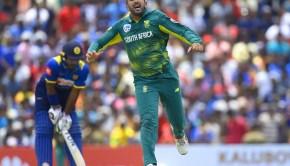South Africa's Tabraiz Shamsi celebrates after he dismissed Sri Lankan cricketer Akila Dananjaya