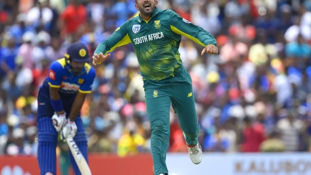 South Africa's Tabraiz Shamsi celebrates after he dismissed Sri Lankan cricketer Akila Dananjaya