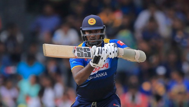 Sri Lanka's Angelo Mathews plays a shot against South Africa