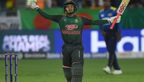 Bangladeshi batsman Mushfiqur Rahim celebrates after scoring 100