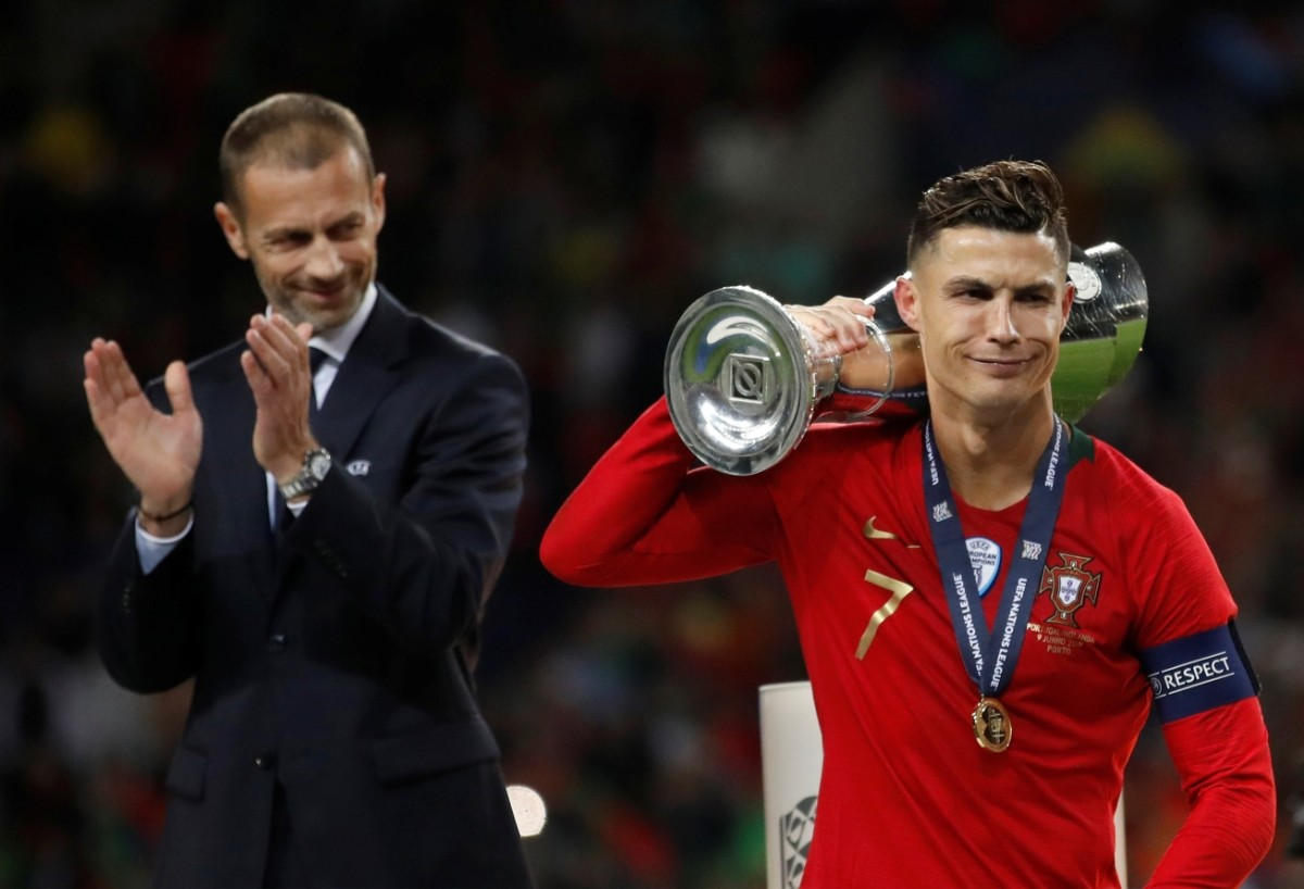 Image result for ronaldo nations league trophy