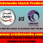 Oman vs Scotland 10th T20 World Cup 2021 Match Prediction