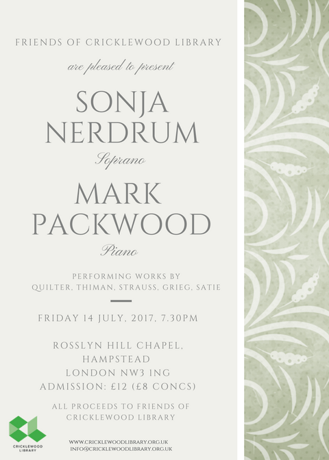 Music Recital by Sonja Nerdrum and Mark Packwood – Fundraiser