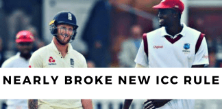 Captains Ben Stokes and Jason Holder nearly broke a new ICC rule