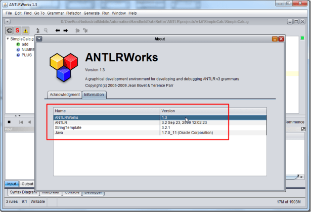 antlrworks 1.3 help about information