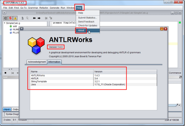 antlrworks 1.4.3 help about information