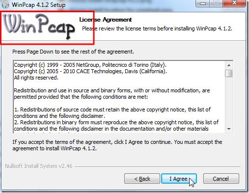 winpcap license
