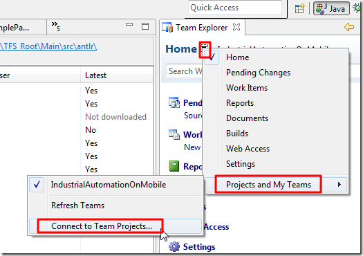 projects and My Teams Connect to Team Projects