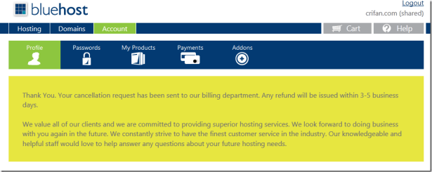 your cancellation request has been sent to billing department