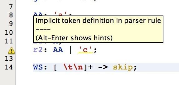 c warning implicit token definition in parser rule