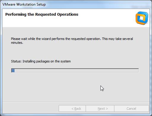installing the vmware