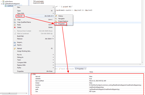 show in properties see path