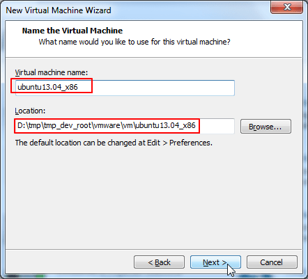 virtual machine name and location