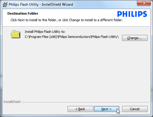 philips flash utility destination folder
