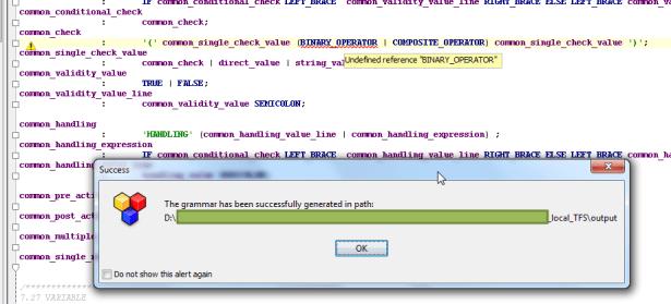 antlrworks binary operator grammar error but can compile ok