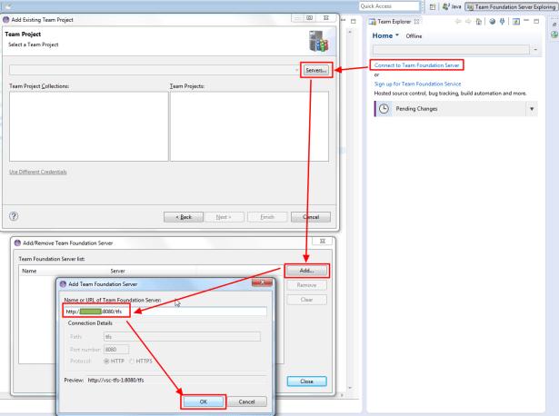 connect to tfs server servers add input address then ok