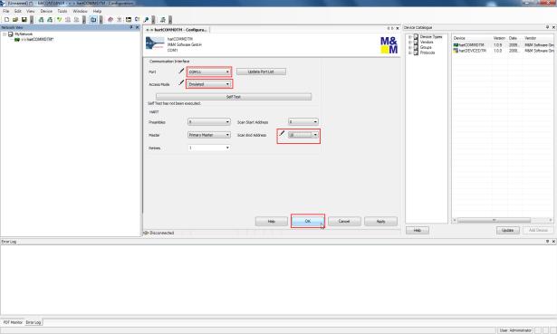 set to com11 addess mode emulated scan end address 10 then ok