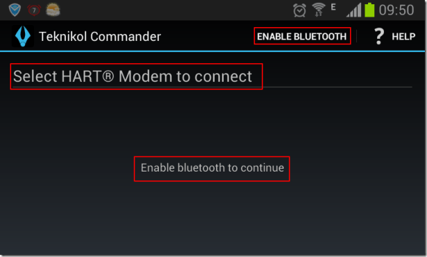 teknicol commander enable bluetooth to continue