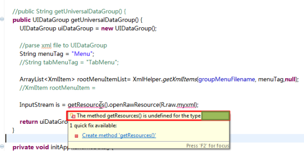 The method getResources is undefined for the type