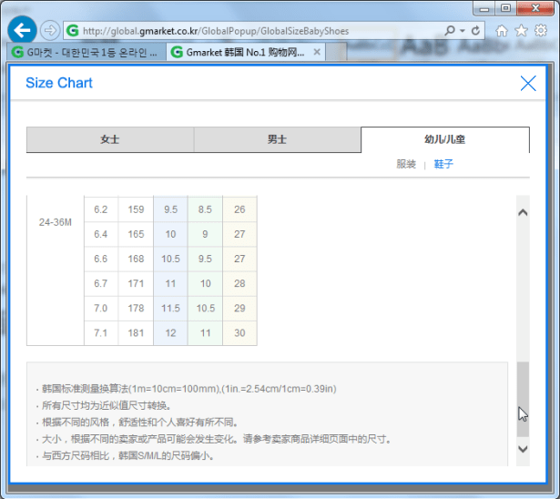 gmarket size chart baby shoes 3