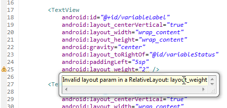 Invalid layout param in a RelativeLayout layout_weight