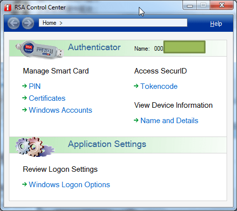 RSA Control Center main ui with token id
