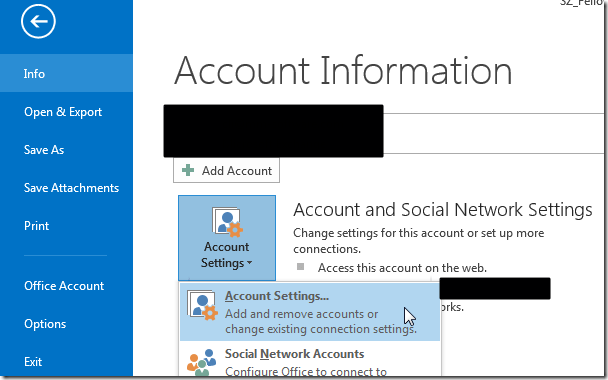 file into account information settings