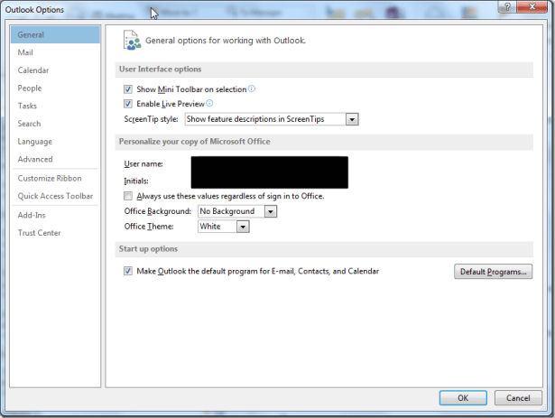 outlook options general not found file data