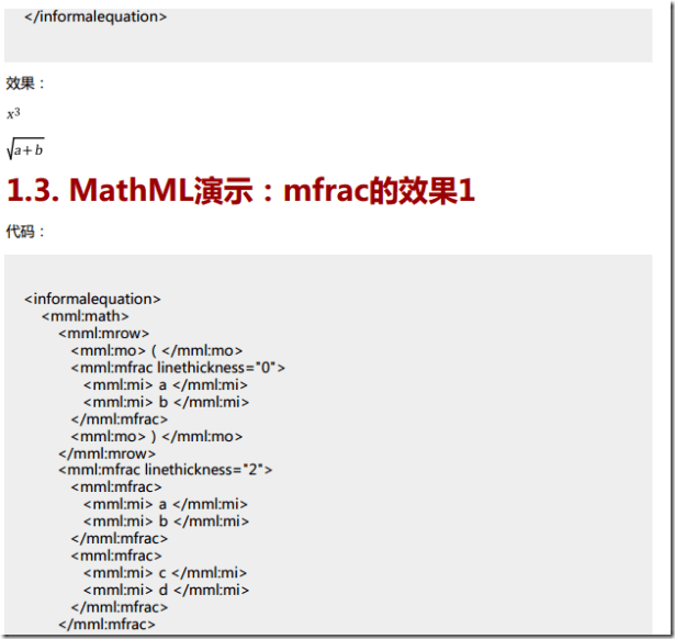 collect many mathml code and example 3