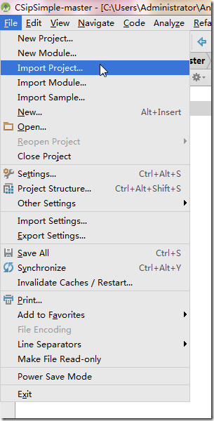 android studio import project