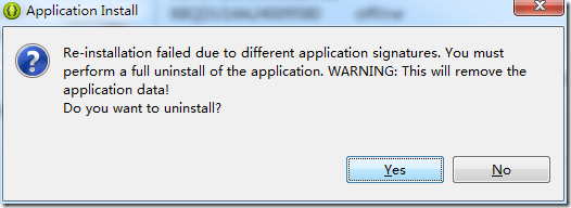 adt eclipse popup re-install fail due to different application signature