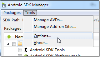 android sdk manager tools options