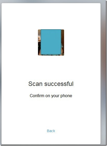 web show scan successful confirm on your phone