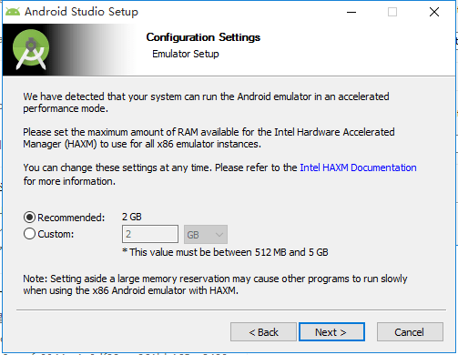 configuration settings emulator setup recommanded 2GB for HAXM