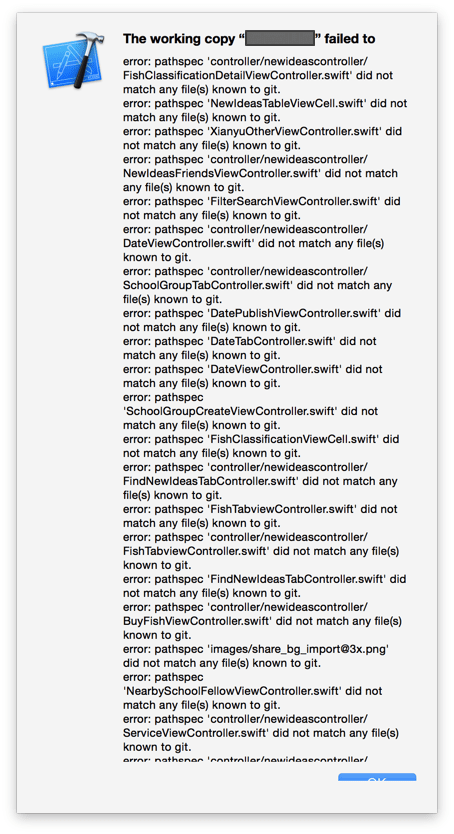 the working copy failed to error pathspec did not match any files known to git